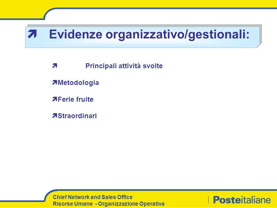 Evidenze organizzativo/gestionali: