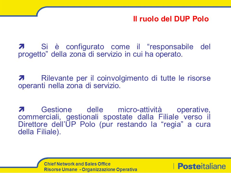 Il ruolo del DUP Polo Si è configurato come il responsabile del progetto della zona di servizio in cui ha operato.