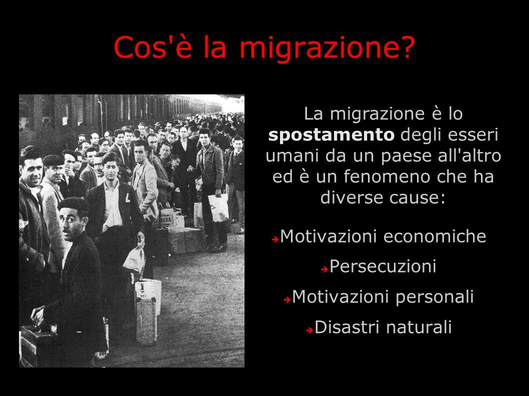 Cos è la migrazione La migrazione è lo spostamento degli esseri umani da un paese all altro ed è un fenomeno che ha diverse cause:
