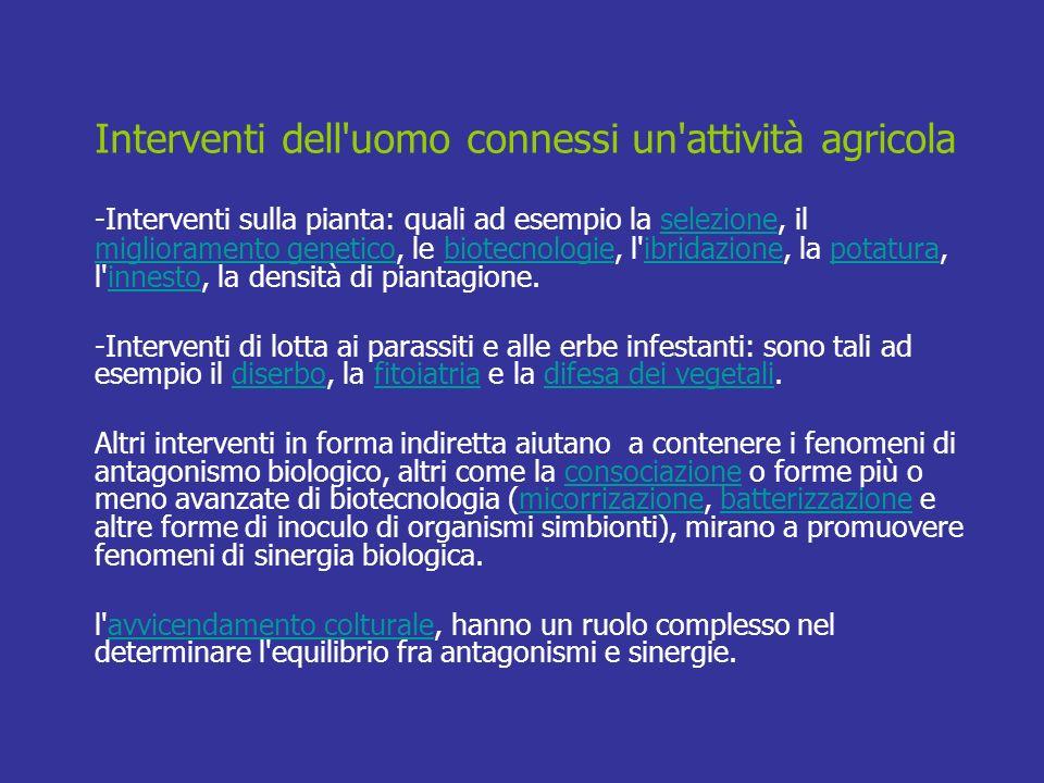 Interventi dell uomo connessi un attività agricola
