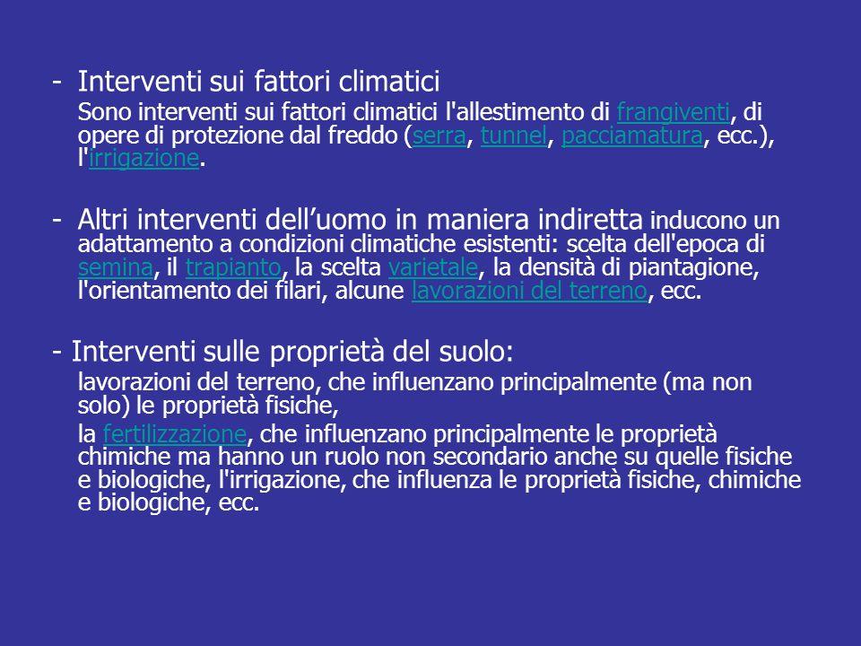 - Interventi sui fattori climatici