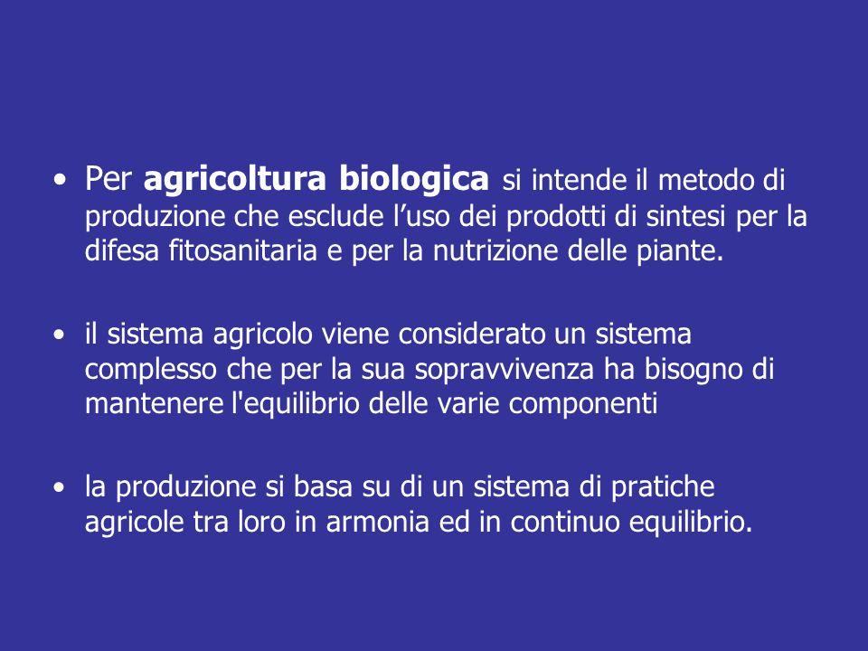 Per agricoltura biologica si intende il metodo di produzione che esclude l'uso dei prodotti di sintesi per la difesa fitosanitaria e per la nutrizione delle piante.