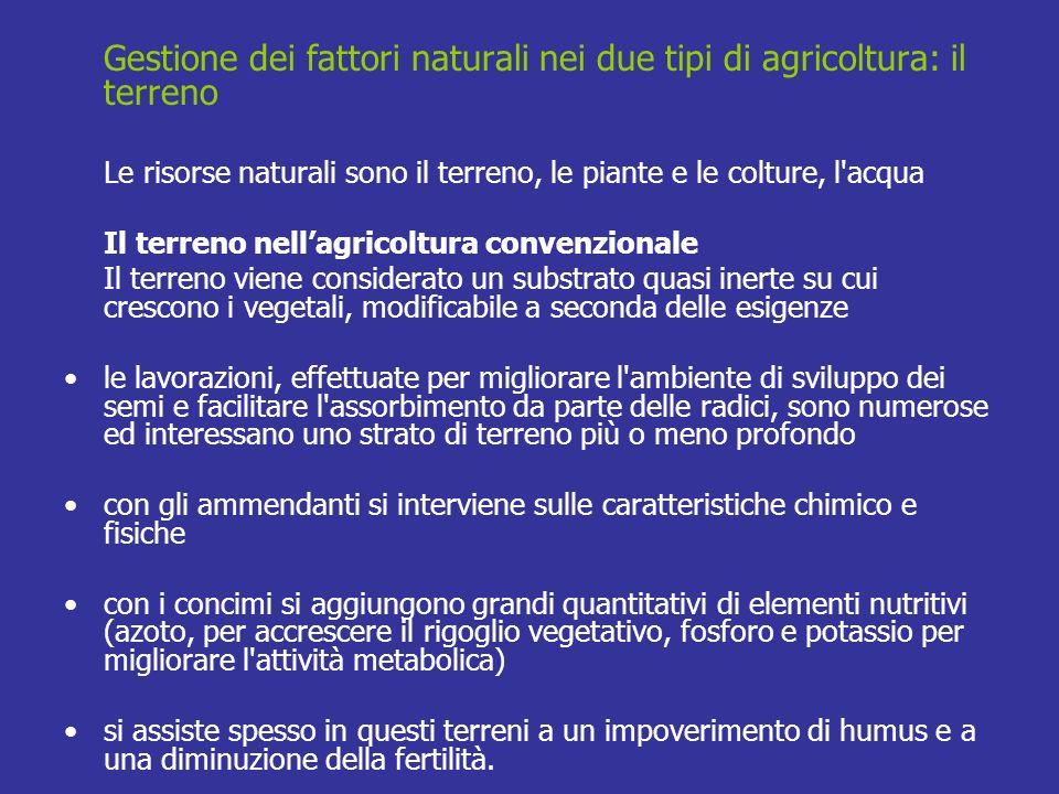 Gestione dei fattori naturali nei due tipi di agricoltura: il terreno