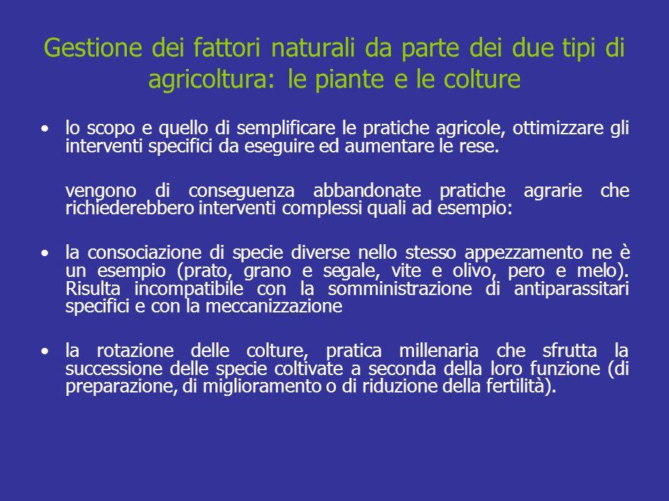 Gestione dei fattori naturali da parte dei due tipi di agricoltura: le piante e le colture