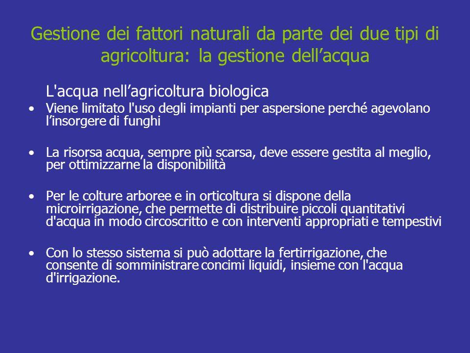 Gestione dei fattori naturali da parte dei due tipi di agricoltura: la gestione dell'acqua