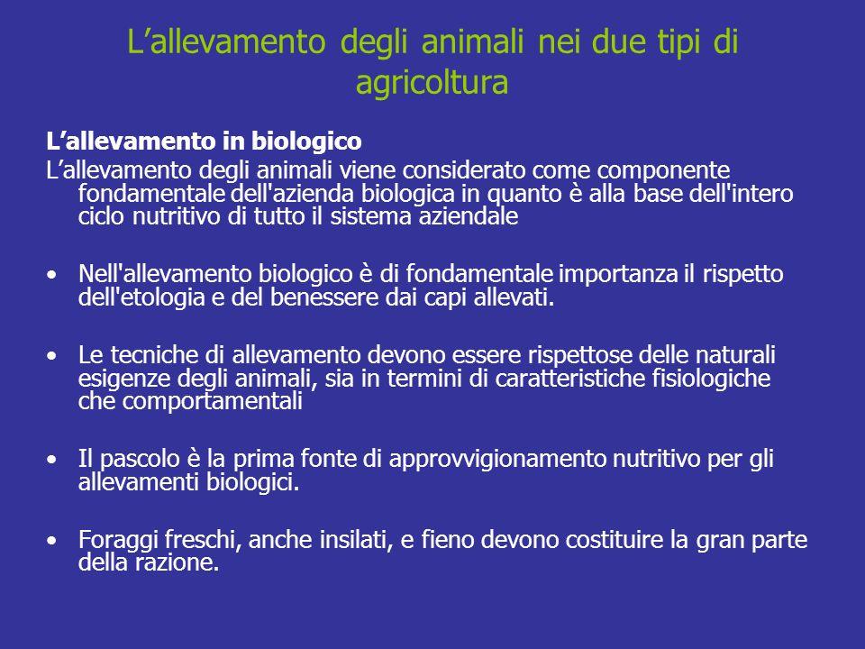 L'allevamento degli animali nei due tipi di agricoltura