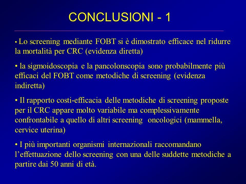 CONCLUSIONI - 1 Lo screening mediante FOBT si è dimostrato efficace nel ridurre la mortalità per CRC (evidenza diretta)