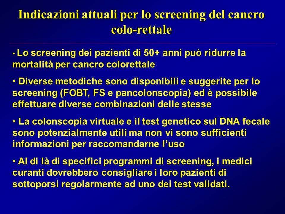 Indicazioni attuali per lo screening del cancro colo-rettale