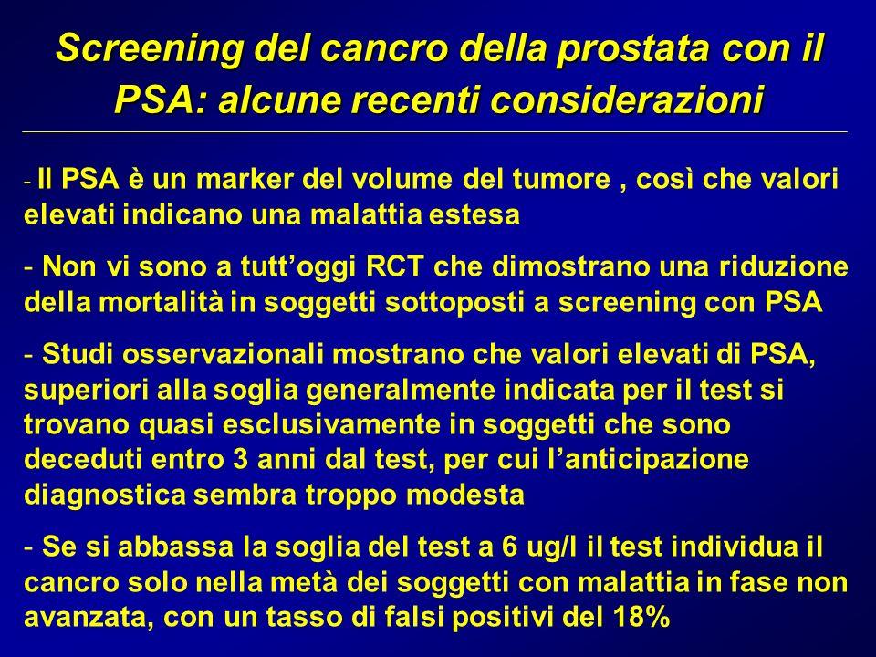 Screening del cancro della prostata con il PSA: alcune recenti considerazioni
