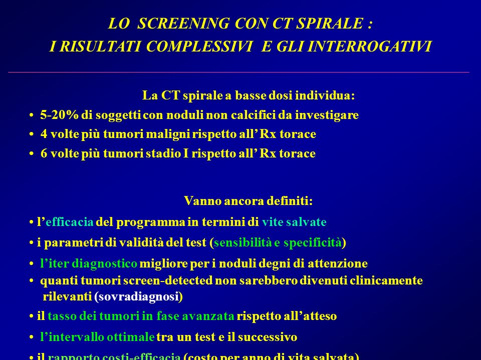 LO SCREENING CON CT SPIRALE :