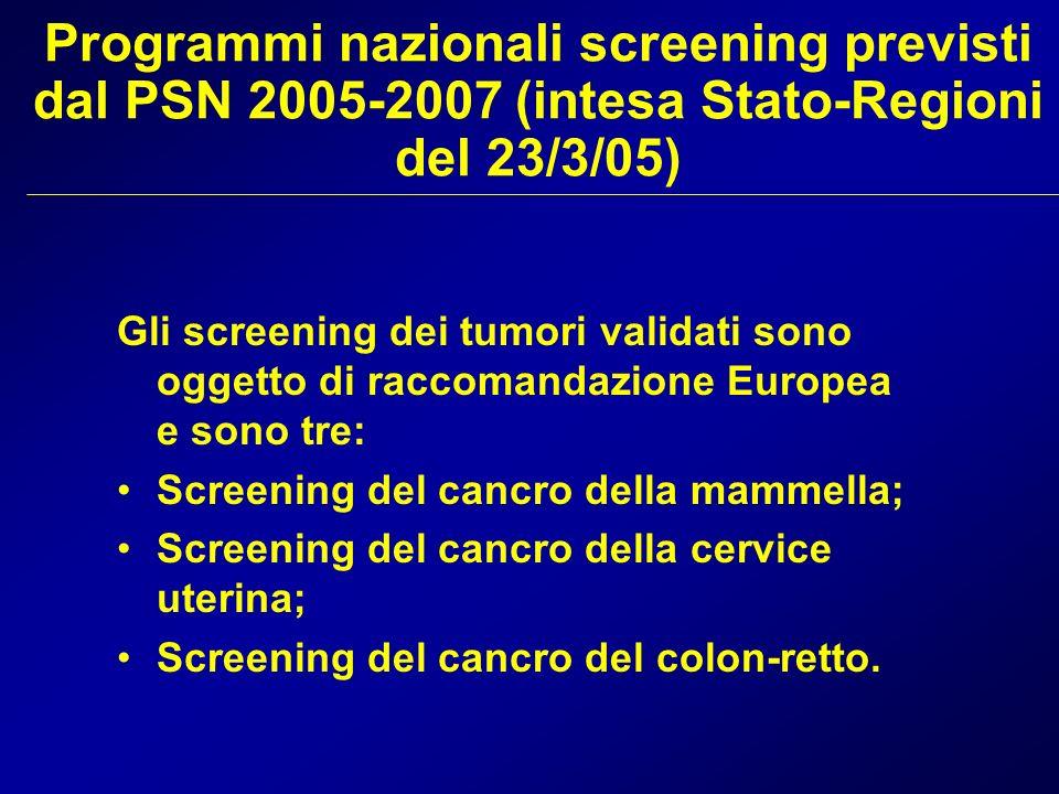 Programmi nazionali screening previsti dal PSN 2005-2007 (intesa Stato-Regioni del 23/3/05)