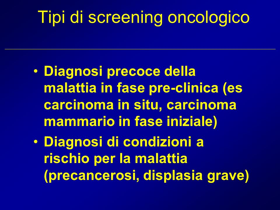 Tipi di screening oncologico