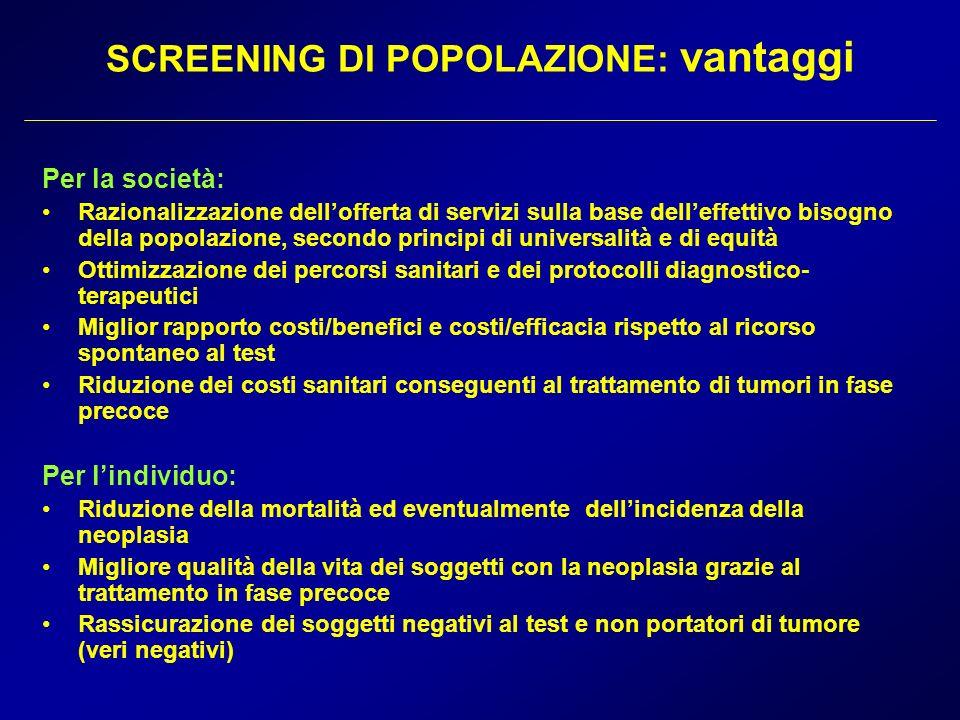 SCREENING DI POPOLAZIONE: vantaggi