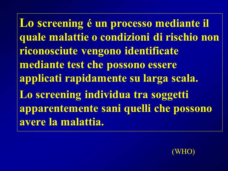 Lo screening é un processo mediante il quale malattie o condizioni di rischio non riconosciute vengono identificate mediante test che possono essere applicati rapidamente su larga scala.