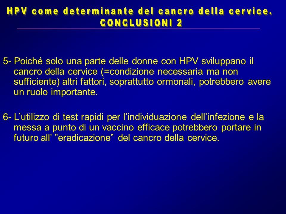 HPV come determinante del cancro della cervice.