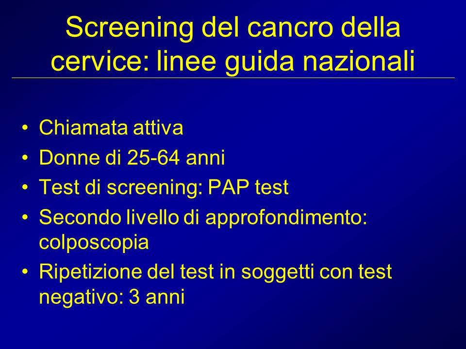 Screening del cancro della cervice: linee guida nazionali
