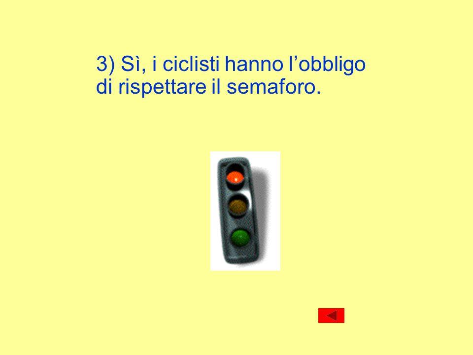 3) Sì, i ciclisti hanno l'obbligo di rispettare il semaforo.