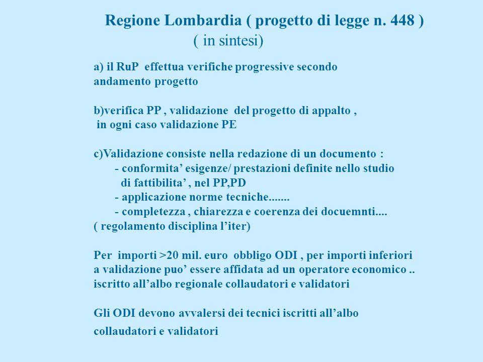 Regione Lombardia ( progetto di legge n. 448 ) ( in sintesi)