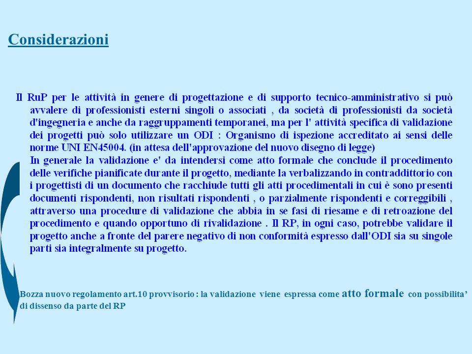Considerazioni Bozza nuovo regolamento art.10 provvisorio : la validazione viene espressa come atto formale con possibilita'
