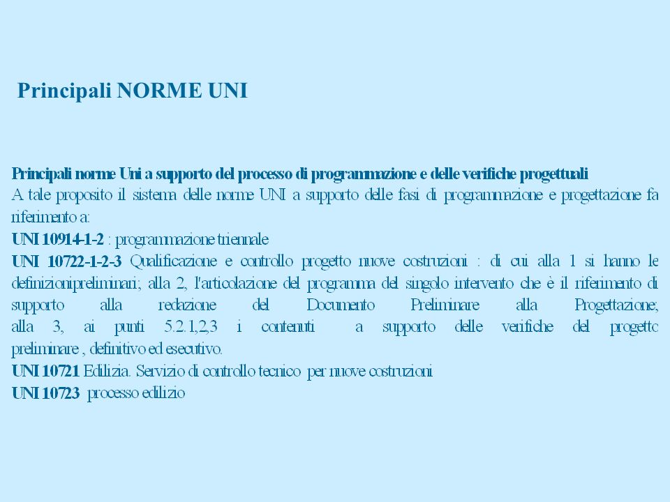 Principali NORME UNI