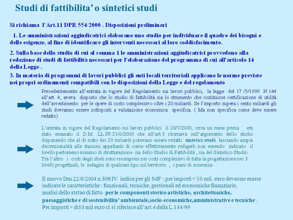 Studi di fattibilita' o sintetici studi
