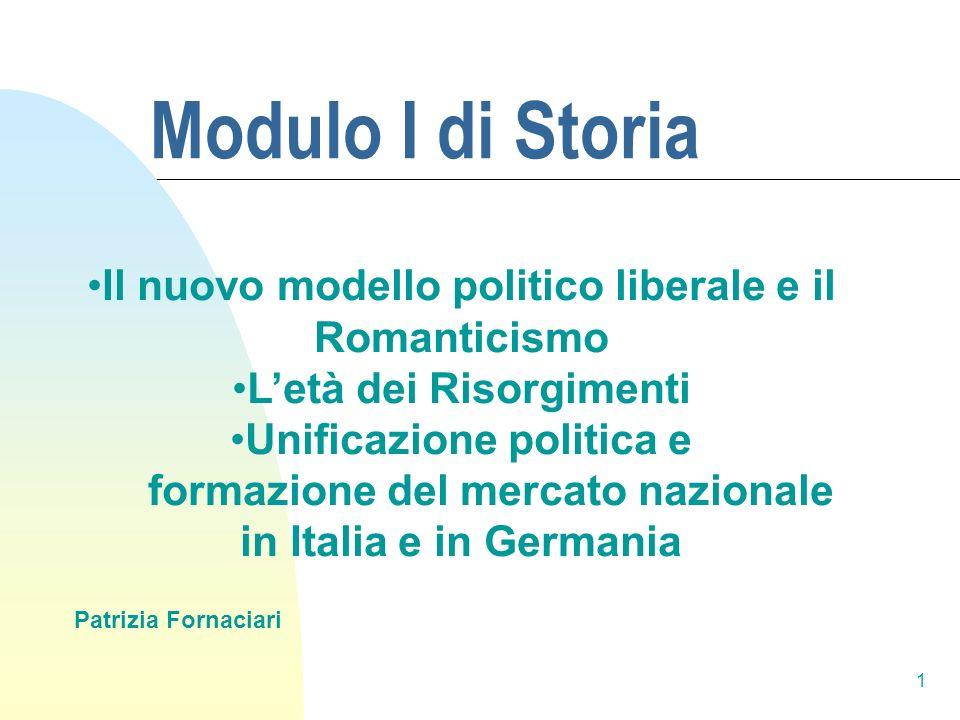 Modulo I di Storia Il nuovo modello politico liberale e il Romanticismo. L'età dei Risorgimenti. Unificazione politica e.