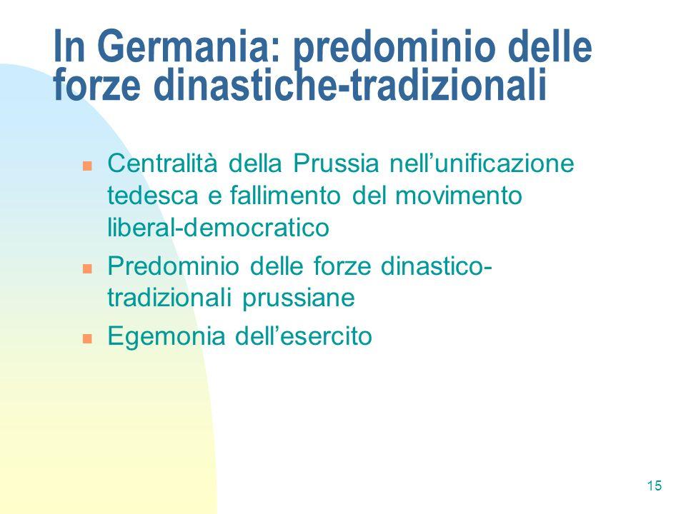 In Germania: predominio delle forze dinastiche-tradizionali