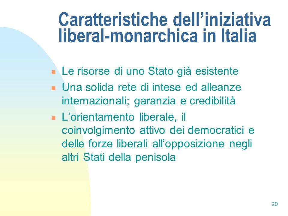 Caratteristiche dell'iniziativa liberal-monarchica in Italia