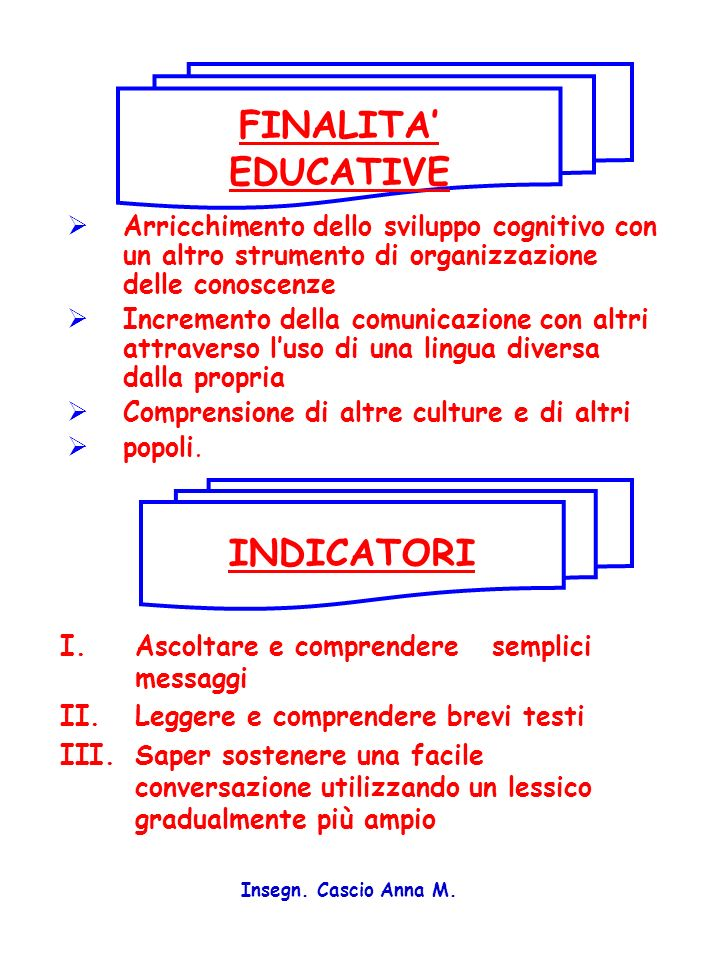 FINALITA' EDUCATIVE INDICATORI