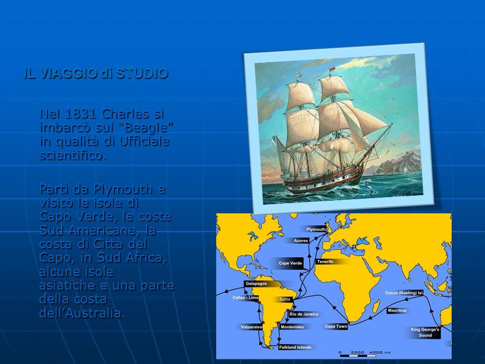 IL VIAGGIO di STUDIO Nel 1831 Charles si imbarcò sul Beagle in qualità di Ufficiale scientifico.