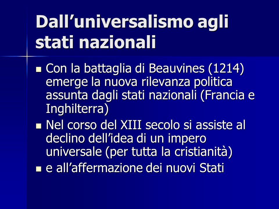 Dall'universalismo agli stati nazionali