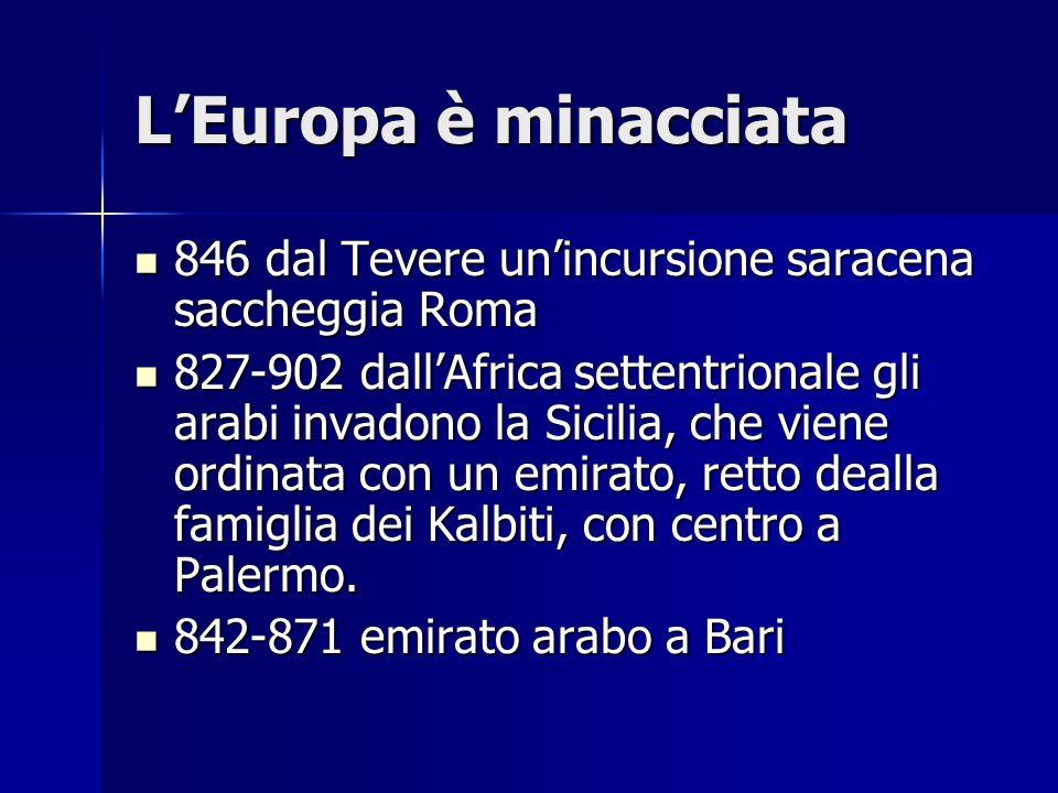 L'Europa è minacciata846 dal Tevere un'incursione saracena saccheggia Roma.