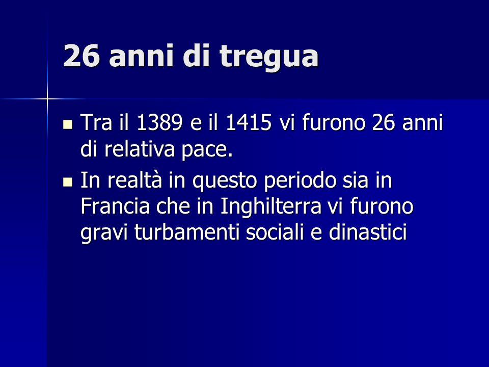 26 anni di tregua Tra il 1389 e il 1415 vi furono 26 anni di relativa pace.