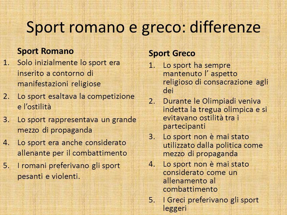 Sport romano e greco: differenze