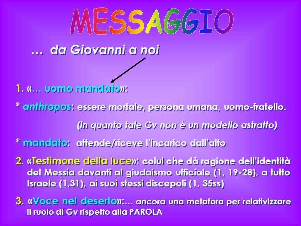 MESSAGGIO … da Giovanni a noi 1. «… uomo mandato»: