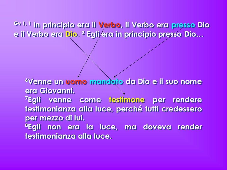 Gv 1, 1 In principio era il Verbo, il Verbo era presso Dio e il Verbo era Dio. 2 Egli era in principio presso Dio…