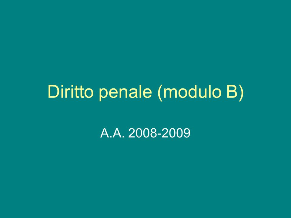 Diritto penale (modulo B)