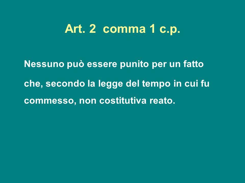 Art. 2 comma 1 c.p. Nessuno può essere punito per un fatto.
