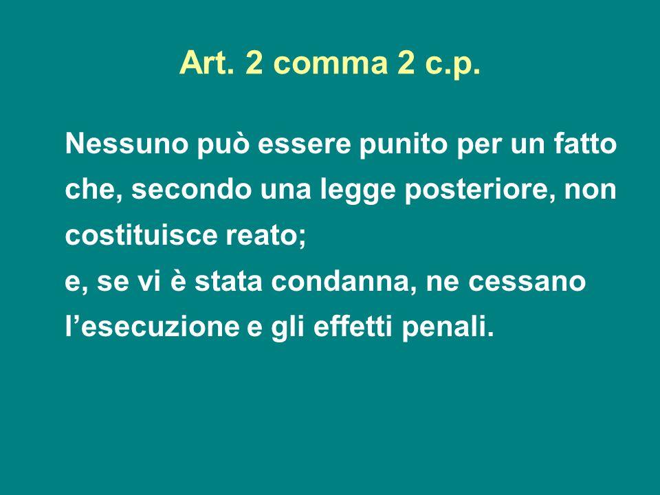 Art. 2 comma 2 c.p. Nessuno può essere punito per un fatto che, secondo una legge posteriore, non costituisce reato;