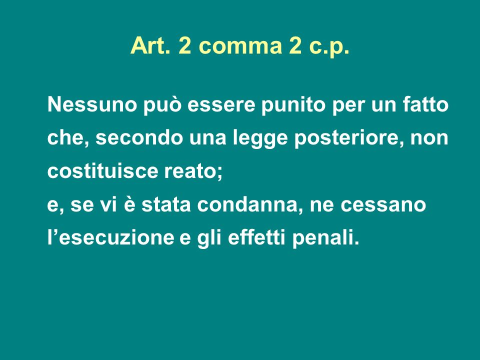 Art. 2 comma 2 c.p.Nessuno può essere punito per un fatto che, secondo una legge posteriore, non costituisce reato;