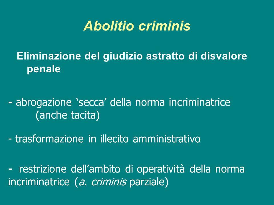 Abolitio criminisEliminazione del giudizio astratto di disvalore penale. - abrogazione 'secca' della norma incriminatrice (anche tacita)