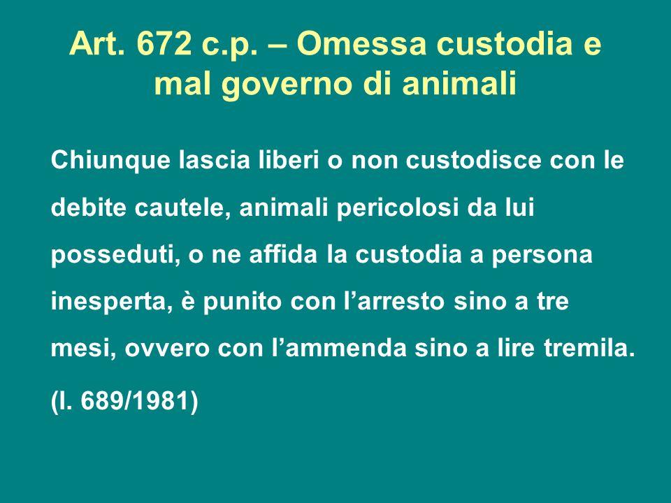 Art. 672 c.p. – Omessa custodia e mal governo di animali