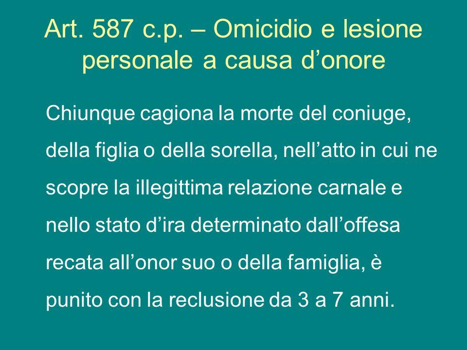 Art. 587 c.p. – Omicidio e lesione personale a causa d'onore