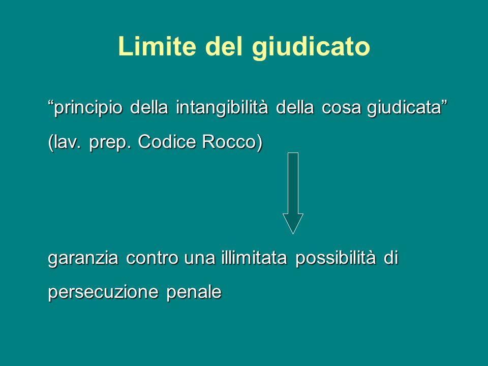 Limite del giudicato principio della intangibilità della cosa giudicata (lav. prep. Codice Rocco)