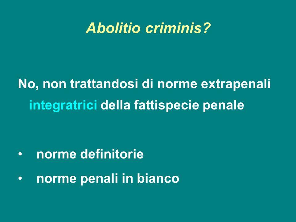 Abolitio criminis No, non trattandosi di norme extrapenali integratrici della fattispecie penale. norme definitorie.