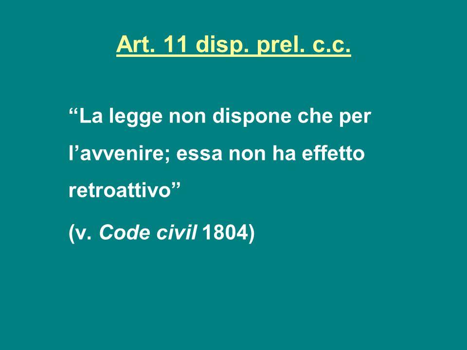 Art. 11 disp. prel. c.c. La legge non dispone che per l'avvenire; essa non ha effetto retroattivo