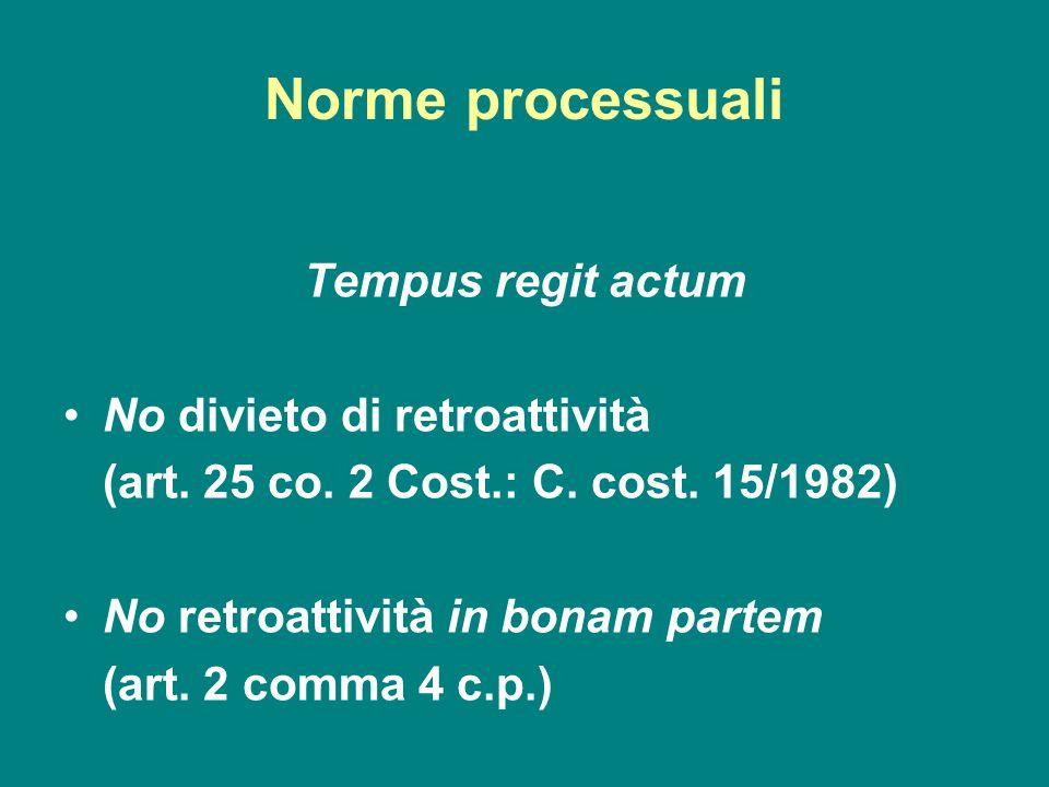 Norme processuali Tempus regit actum No divieto di retroattività