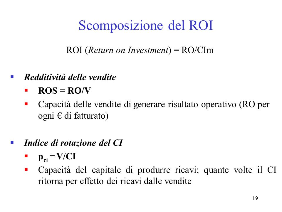 Scomposizione del ROI ROI (Return on Investment) = RO/CIm