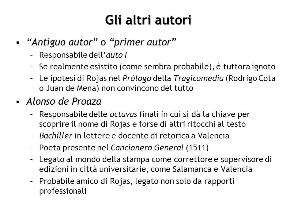 Gli altri autori Antiguo autor o primer autor Alonso de Proaza
