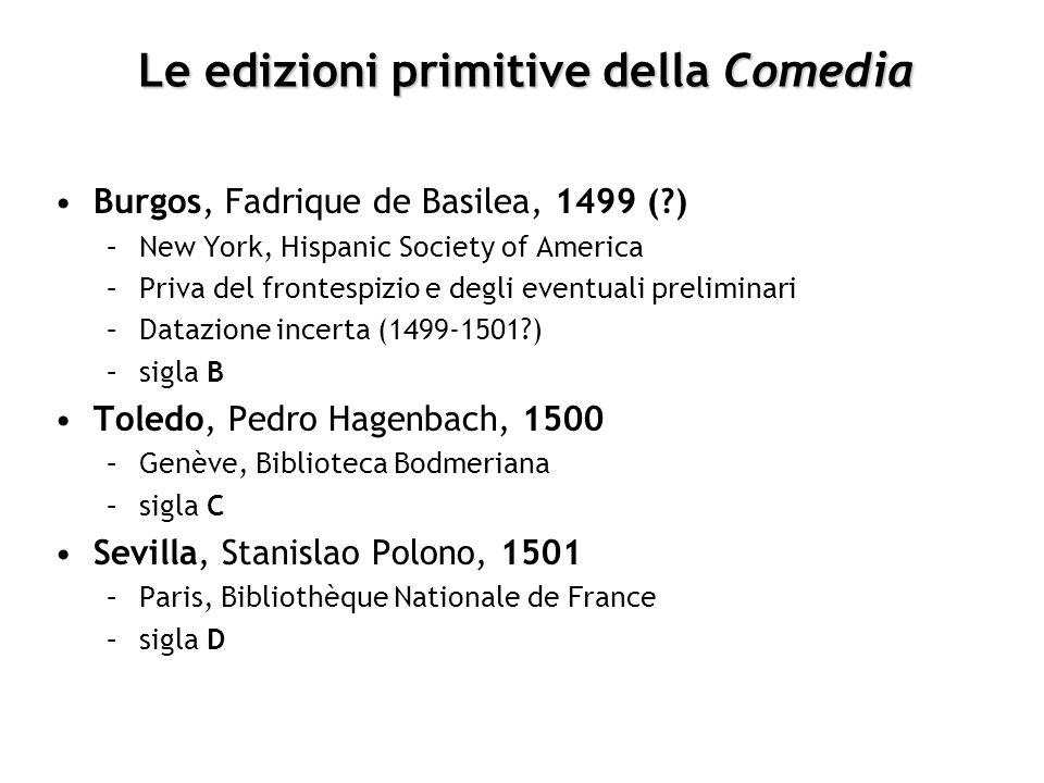 Le edizioni primitive della Comedia